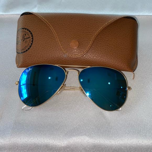 Ray-Ban Blue Flash Mirrored Aviator Sunglasses